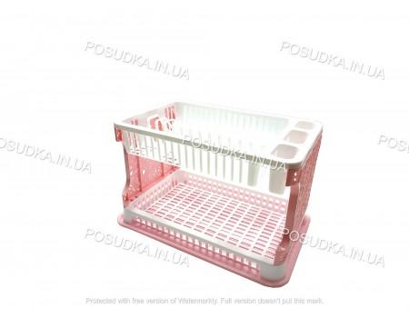 Пластиковая сушилка для посуды в шкаф Efe Plastics Ажур розовая