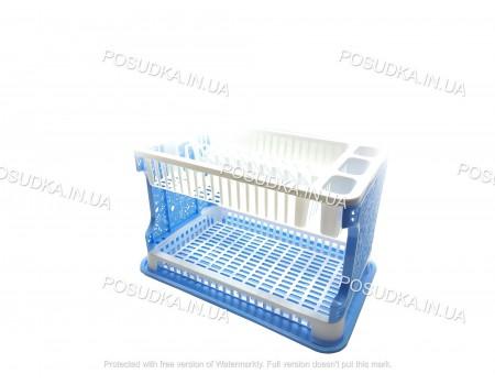 Сушка для посуды двухуровневая пластиковая Efe Plastics Ажур голубая