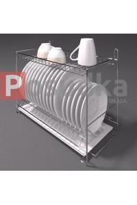 Сушилка для посуды с поддоном настольно-настенная 400 мм 2-ярусная хром SP-2422
