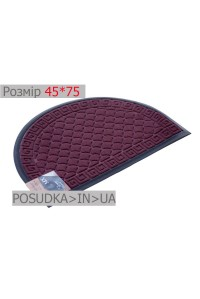 Придверный коврик полукруглый 45*75 см Рамка бордовый