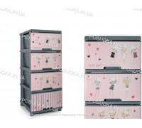 Комод пластиковый Алеана с декором серый Девочки 123093