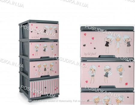 Комод Алеана с декоративным рисунком серый Девочки 123093