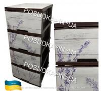 Комод пластиковый Алеана с декором темно-коричневый Лаванда 123093