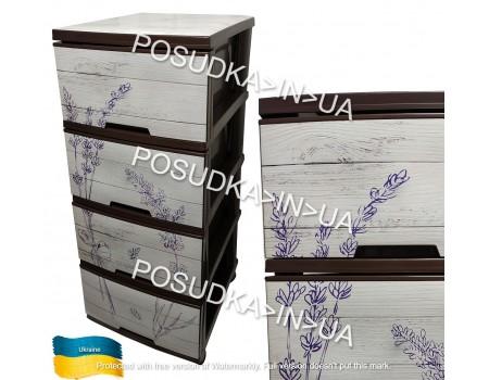 Комод плстиковый  Алеана для детской комнаты рисунком темно-коричневый Лаванда 123093