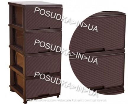 Комод пластиковая мебель Алеана Ротанг темно-коричневый 123094