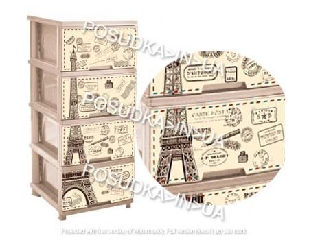 Комод для прихожей пластик Алеана кремовый Париж 123093