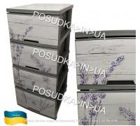 Комод пластиковый Алеана с декором серый Лаванда 123093