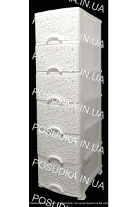 Пластиковый комод белый Ажур 6 ящиков Efe Plastics