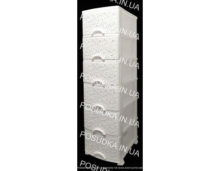 Комод пластиковый Ажур белый на 6 ящиков Efe Plastics