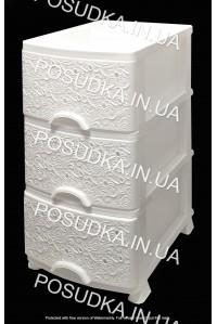 Пластиковый комод белый Ажур 3 ящика Efe Plastics