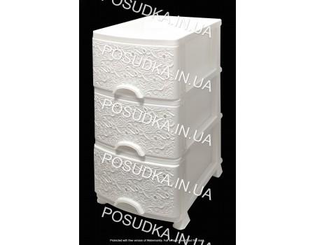 Комод пластиковый Ажур белый 3 ящика Efe Plastics