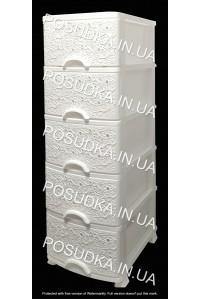 Пластиковый комод белый Ажур 5 ящиков Efe Plastics
