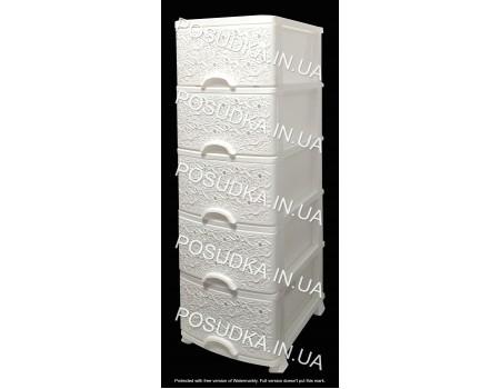 Комод пластиковый для вещей Ажур белый 5 ящиков Efe Plastics