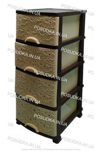 Пластиковый комод бежево-коричневый Ажур 4 ящика Efe Plastics