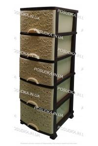 Пластиковый комод бежево-коричневый Ажур 5 ящиков Efe Plastics