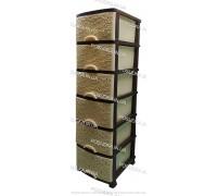 Пластиковый комод бежево-коричневы Ажур 6 ящиков Efe Plastics