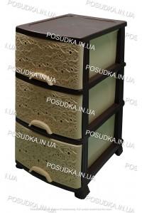 Пластиковый комод бежево-коричневый Ажур 3 ящика Efe Plastics