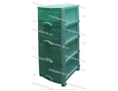Комод для хрнения пластиковый Ажур мятный 4 ящика Efe Plastics