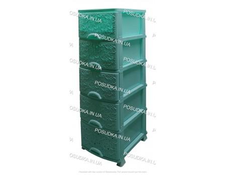 Комод универсальный с выдвижными ящиками мятный Ажур 5 ящиков Efe Plastics