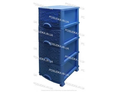 Комод для ванной комнаты Ажур голубой 4 ящика Efe Plastics