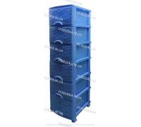 Пластиковый комод голубой Ажур 6 ящиков Efe Plastics