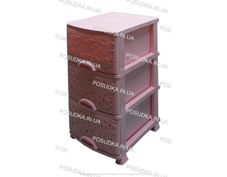Комод розовый для детской комнаты пластиковый Ажур на 3 ящика Efe Plastics