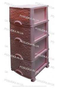 Пластиковый комод розовый Ажур 4 ящика Efe Plastics