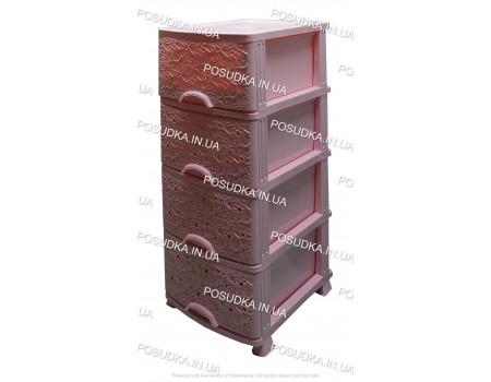 Комод для ванной комнаты Ажур розовый 4 ящика Efe Plastics