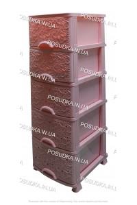 Пластиковый комод розовый Ажур 5 ящиков Efe Plastics