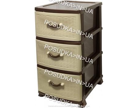 Пластиковая мебель комод на 3 ящика Стиль бежево-коричневый Efe Plastics