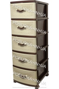 Комод из пластика на 5 ящиков Стиль бежево-коричневый Efe Plastics