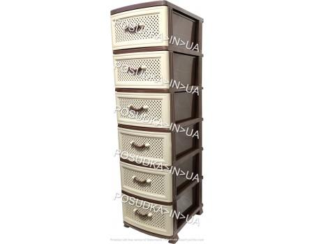 Пластиковый комод с выдвижными ящиками 6 ярусов Сетка бежево-коричневый Efe Plastics