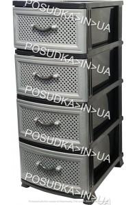 Комод пластик на 4 ящика Сетка темно-серый Efe Plastics