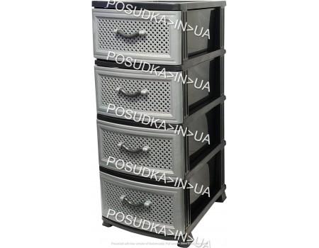 Пластиковый комод для кухни на 4 ящика Сетка темно-серый Efe Plastics