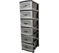 Комод пластик на 6 ящиков Сетка темно-серый Efe Plastics