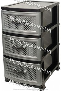 Комод пластик на 3 ящика Сетка темно-серый Efe Plastics
