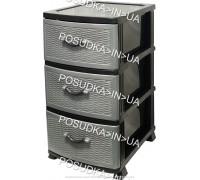 Комод пластмассовый 3 ящика Стиль темно-серый Efe Plastics