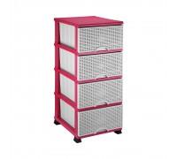 Комод пластмассовый Elif Plastik Wicker серо-розовый 296-2