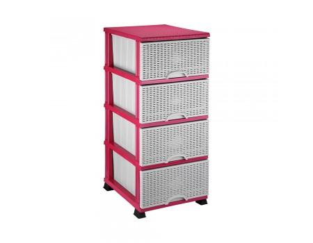 Комод для ванной комнаты Elif Plastik Wicker серо-розовый 296-2