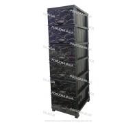 Комод пластиковый рисунок Мрамор темный на 5 ящиков Elif Plastik 498-4-6