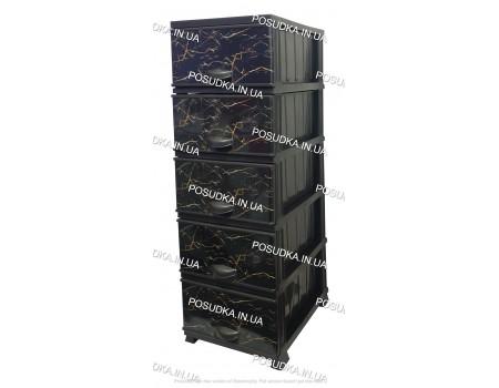 Пластиковый комод для хранения на балкон Мрамор черный на 5 ярусов Elif Plastik 498-4-5