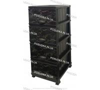 Комод пластиковый рисунок Мрамор темный на 4 ящика Elif Plastik 498-4-4