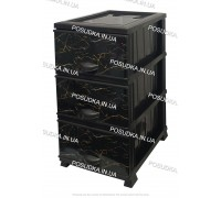 Комод пластиковый рисунок Мрамор темный на 3 ящика Elif Plastik 498-4-3