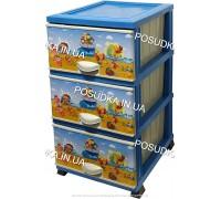 Комод для мальчика пластиковый Море на 3 ящика Elif Plastik 298-40-3