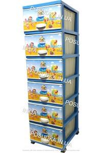Комод для мальчика пластиковый Море на 6 ящиков Elif Plastik 298-40-6