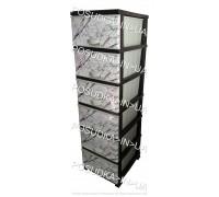 Комод пластиковый Мрамор на 6 ящиков Elif Plastik 398-4-6