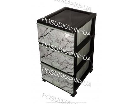 Комод пластиковый белый Мрамор на 3 ящика Elif Plastik 398-4-3