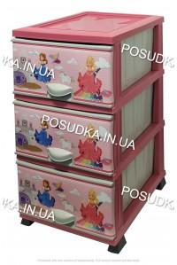 Комод для девочки пластиковый Принцесса на 3 ящика Elif Plastik 298-30-3