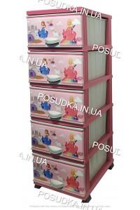 Комод для девочки пластиковый Принцесса на 5 ящиков Elif Plastik 298-30-5