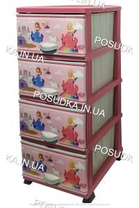 Комод для девочки пластиковый Принцесса на 4 ящика Elif Plastik 298-30-3